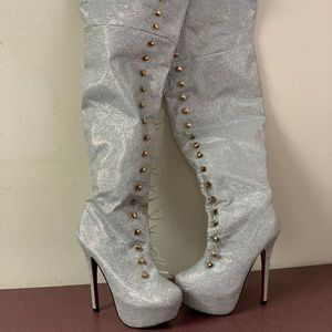 Nikky knee high sparkly boots